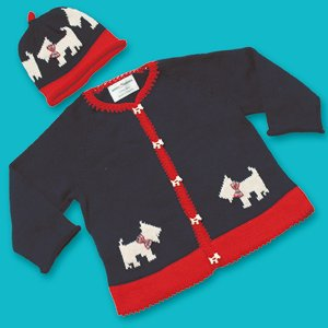 Scottie cardi and hat