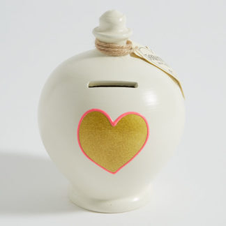 Gold Heart Money Pot