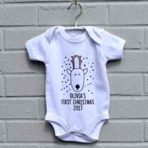 Personalised reindeer 1st Christmas baby vest