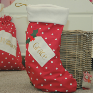 Spotty personalised santa Christmas stocking