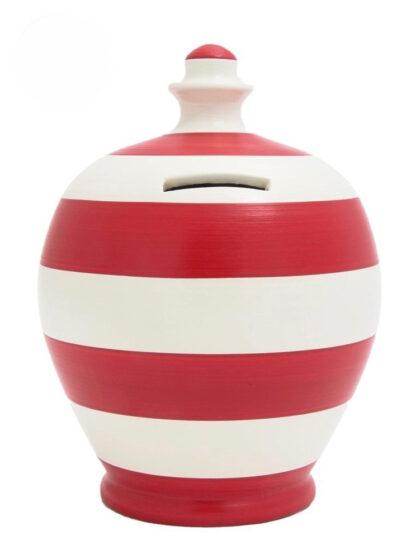 Money Saving Pot Red & White Striped